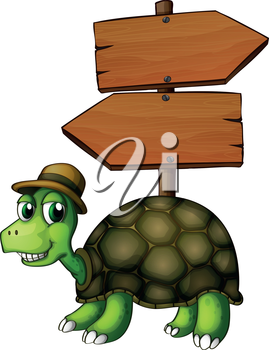 Illustration of a turtle under an empty arrowboard  on a white background