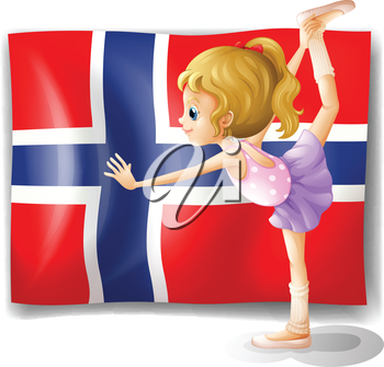 Illustration of the flag of the Bouvet Island with a girl