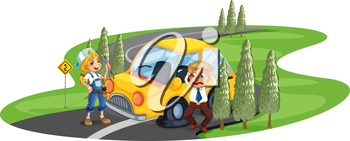 Illustration of a car accident at the road near the pine trees on a white background