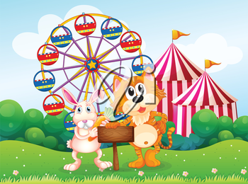 Illustration of a tiger and a bunny holding an empty board near the carnival