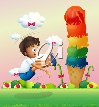 Illustration of a boy exercising near the giant ice cream