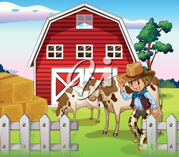 Illustration of a cowboy inside the farm with cows and a barnhouse