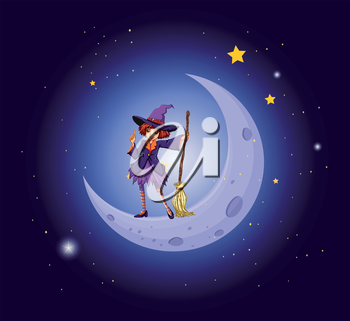Illustration of a pretty witch near the moon