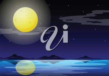 Illustration of a moonlight scenery