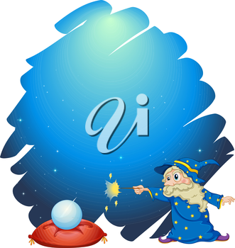 Illustration of a wizard holding a wand with a crystal ball and a pillow on a white background