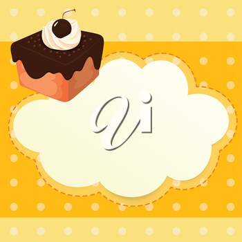Illustration of a stationery with a chocolate cake