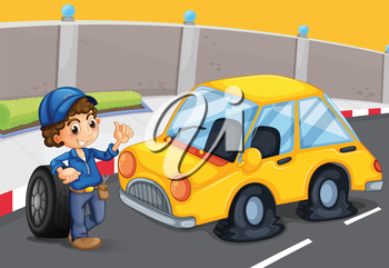 Illustration of a boy standing in front of a car with a flat tire