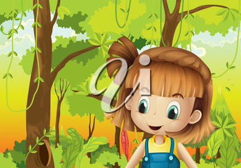 Illustration of a cute little girl in the forest