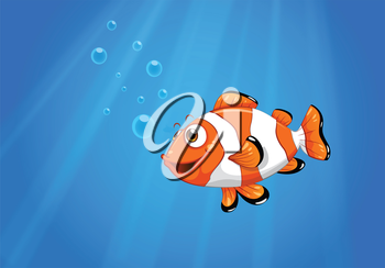 Illustration of a sea with a nemo fish