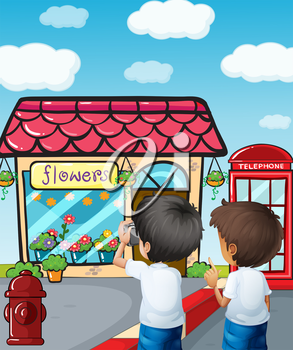 Illustration of the two boys taking photos near the flower shop