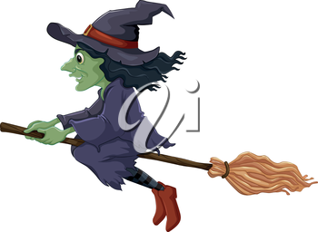 Illustration of a flying witch on a white background
