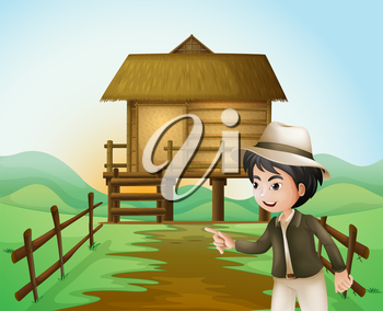 Illustration of a boy with a hat standing near the nipa hut