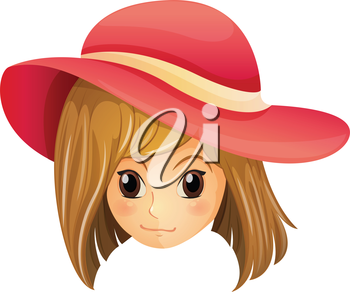 Illustration of a girl wearing a red hat on a white background