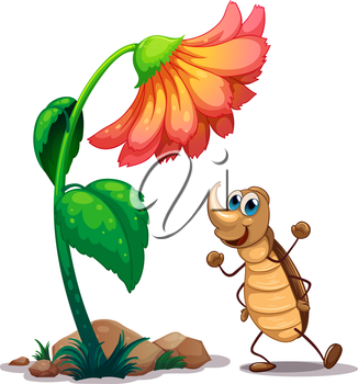 Illustration of an ant dancing below the big flower on a white background