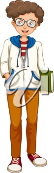 Illustration of a boy holding a book on a white background