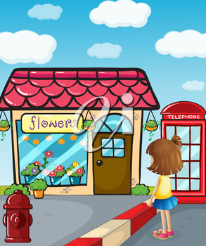 Illustration of a small girl watching the flower shop