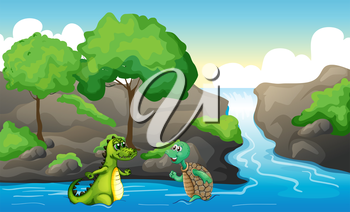 Illustration of a turtle and a crocodile