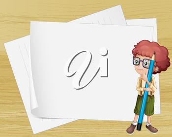 Illustration of a boy with a long pencil standing beside the empty papers