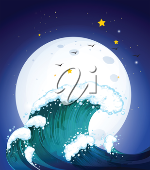 Illustration of the moon and the waves