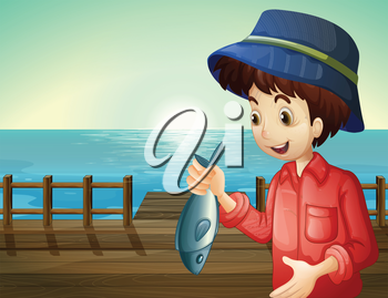 Illustration of a fisherman holding a fish at the seaport