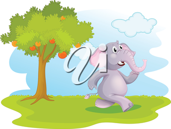 Illustration of an elephant running near the orange tree on a white background