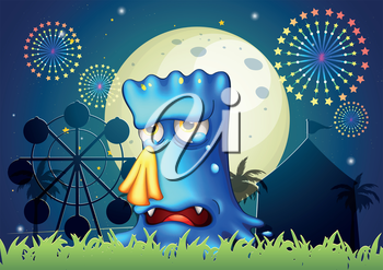 Illustration of a canival with a blue monster crying