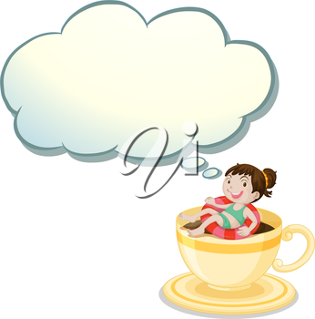 Illustration of a big cup with a happy young girl swimming on a white background
