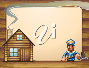 Illustration of an empty template with a wooden house and a lumberjack with an axe