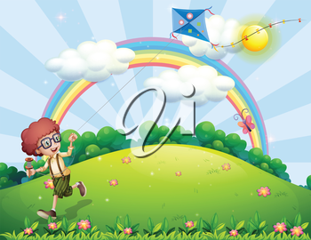 Illustration of a boy playing with his kite at the hilltop with a rainbow