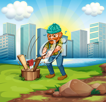 Illustration of a man chopping woods across the tall buildings