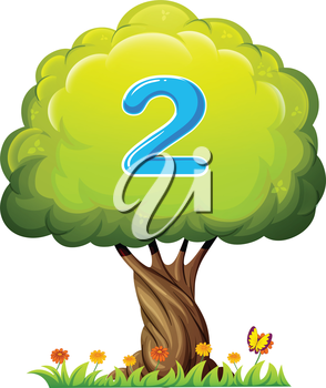 Illustration of a tree with a number two figure on a white background