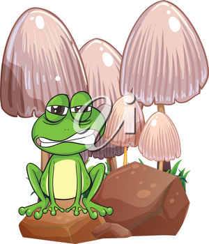 Illustration of a sad frog near the mushrooms on a white background