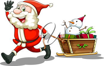 Illustration of a smiling Santa pulling a sleigh on a white background