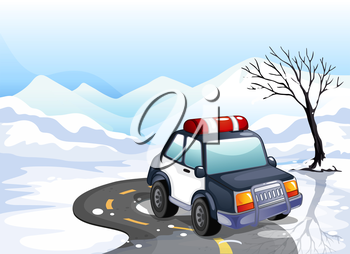 Illustration of a patrol car in the snowy land