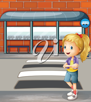 Illustration of a smiling young woman standing near the pedestrian lane