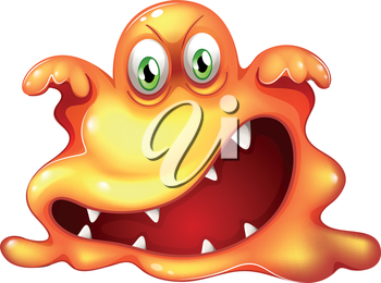 Illustration of a monster in horror on a white background