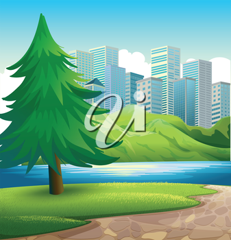 Illustration of a pine tree beside the river across the tall buildings