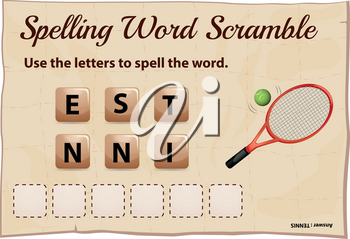 Spelling word scramble game template with word tennis illustration