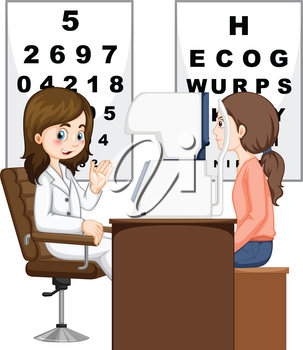Woman having eyes checked by doctor illustration