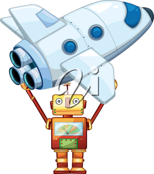 Robot lifting up spaceship illustration
