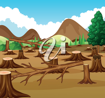 Mountain scene with deforestation view illustration