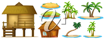 Summer set different shapes of island and hut illustration