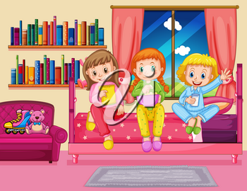 Three girls eating snack in bedroom illustration
