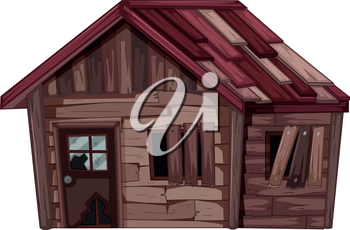 Old wooden house in bad condition illustration