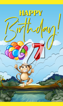Happy birthday with monkey and number seven illustration