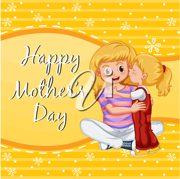 Happy mother's day card with girl kissing mom illustration