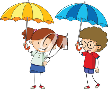 Doodle boy and girl with umbrella illustration