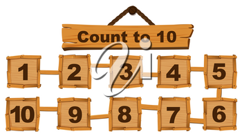 Counting number one to ten on wooden boards illustration