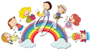 People standing over the rainbow illustration