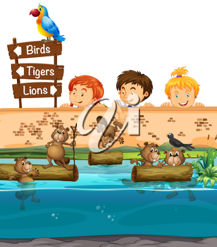 Kids looing at beavers in the zoo illustration